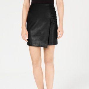 Bar III Black Faux Leather Mini Skirt Faux Wrap
